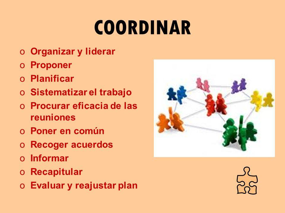 COORDINAR Organizar y liderar Proponer Planificar