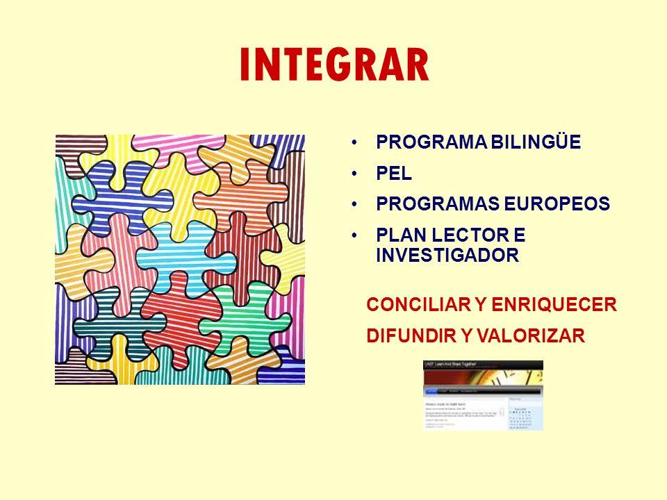 INTEGRAR PROGRAMA BILINGÜE PEL PROGRAMAS EUROPEOS