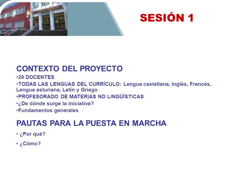 SESIÓN 1 CONTEXTO DEL PROYECTO PAUTAS PARA LA PUESTA EN MARCHA