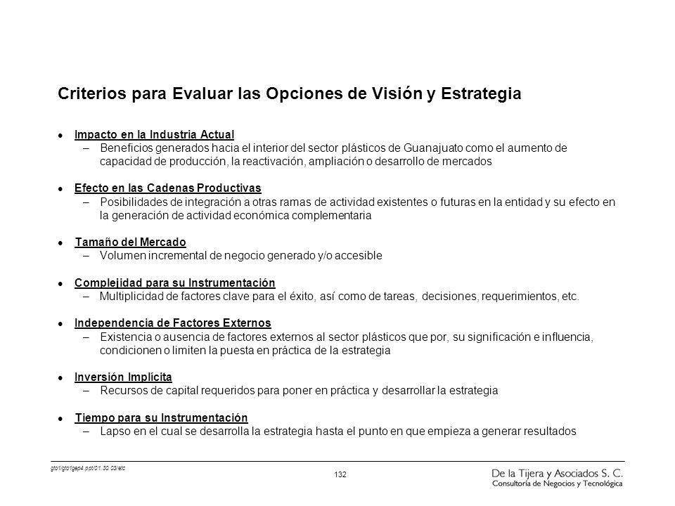 Criterios para Evaluar las Opciones de Visión y Estrategia