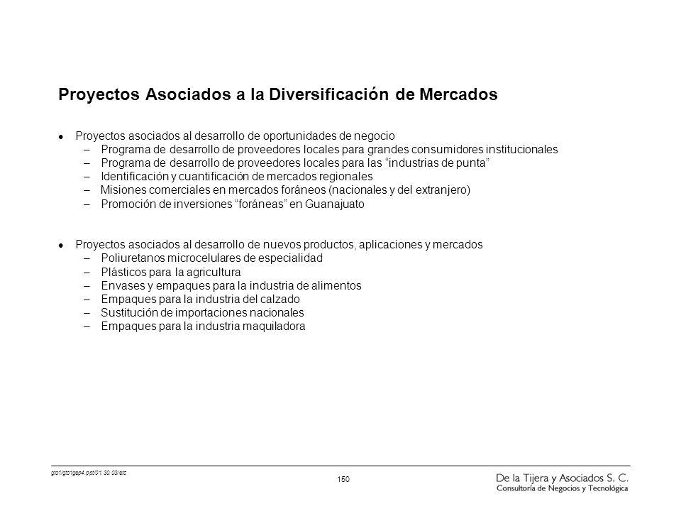 Proyectos Asociados a la Diversificación de Mercados