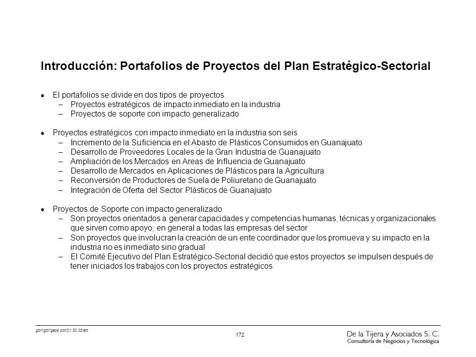 Introducción: Portafolios de Proyectos del Plan Estratégico-Sectorial