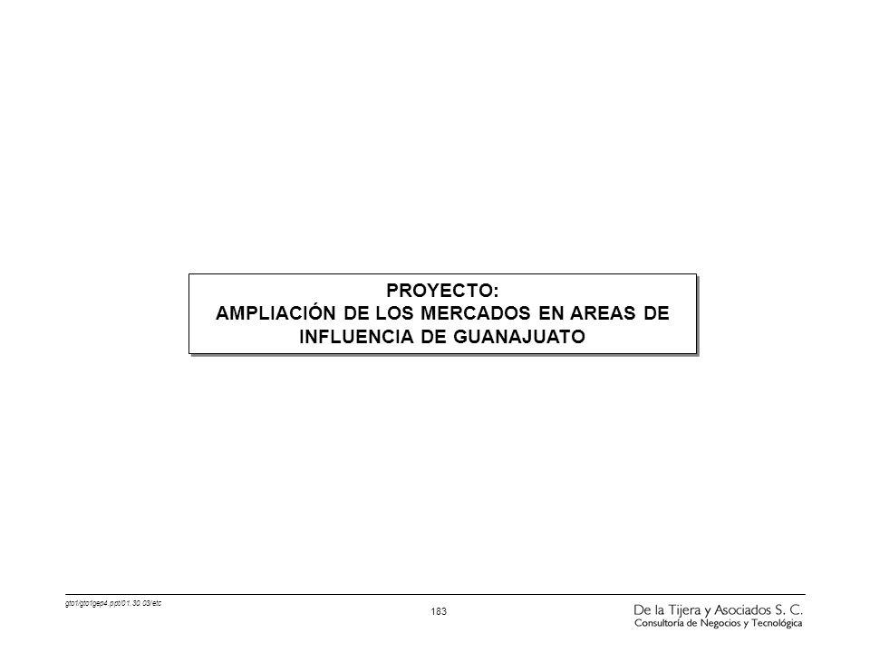 AMPLIACIÓN DE LOS MERCADOS EN AREAS DE INFLUENCIA DE GUANAJUATO