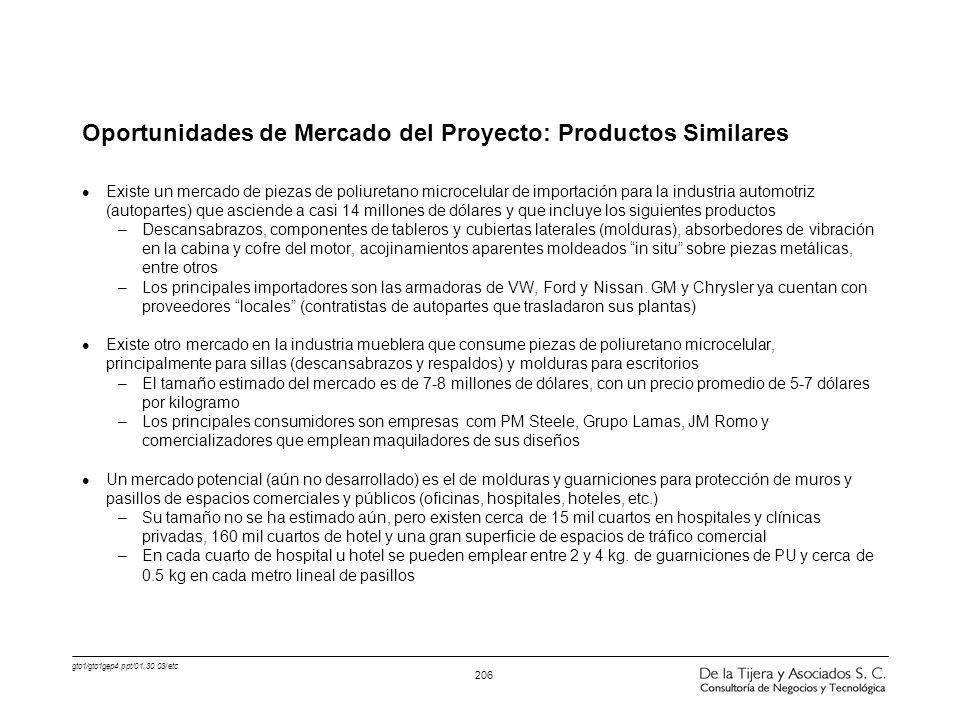 Oportunidades de Mercado del Proyecto: Productos Similares