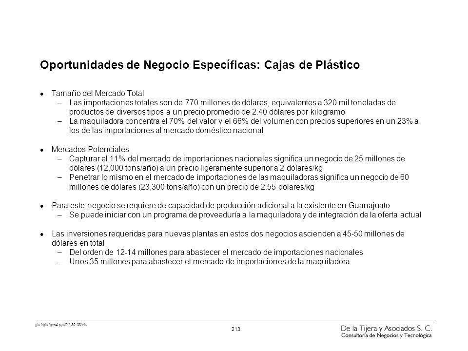 Oportunidades de Negocio Específicas: Cajas de Plástico
