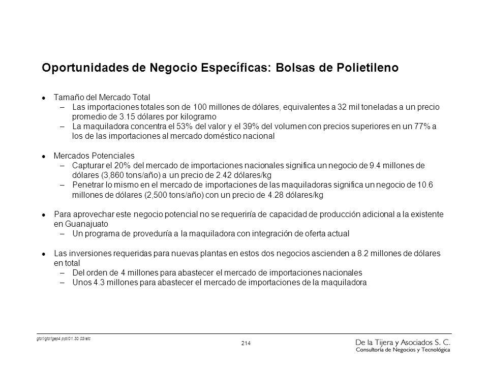 Oportunidades de Negocio Específicas: Bolsas de Polietileno