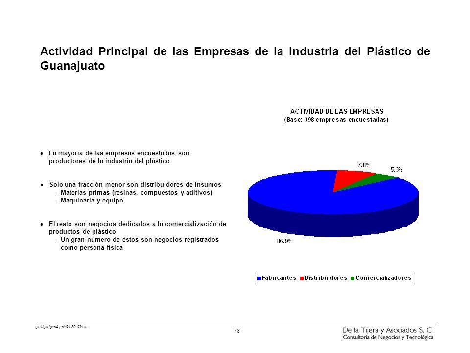 Actividad Principal de las Empresas de la Industria del Plástico de Guanajuato