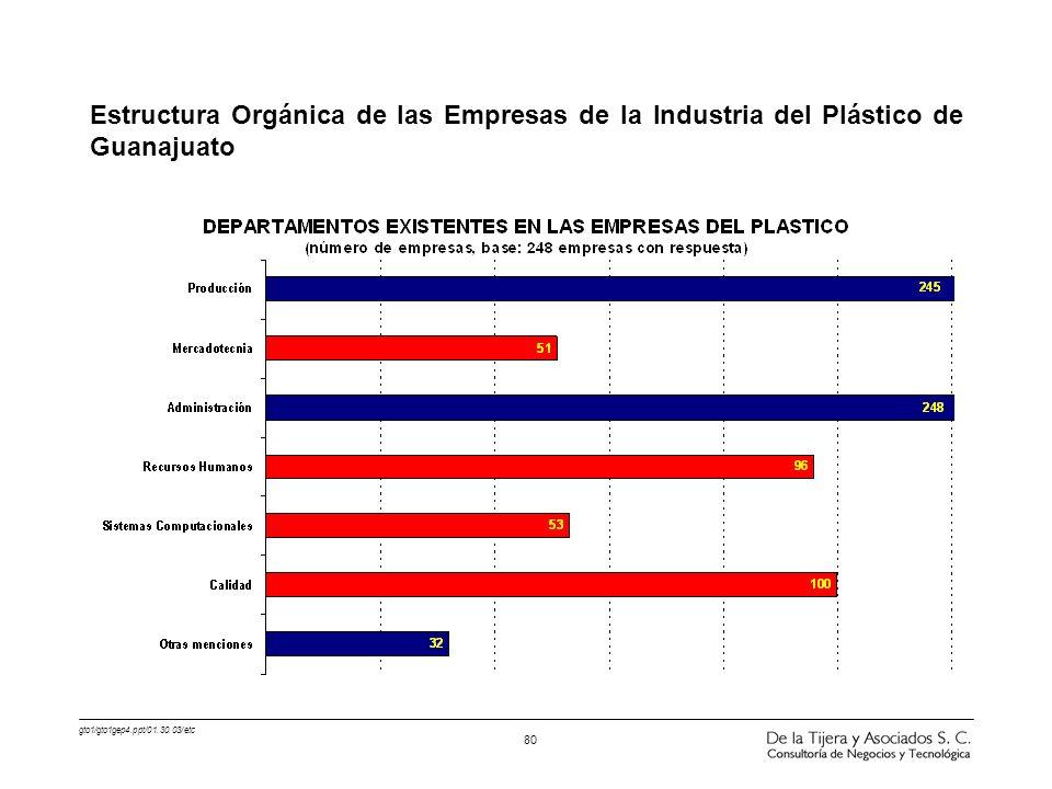 Estructura Orgánica de las Empresas de la Industria del Plástico de Guanajuato