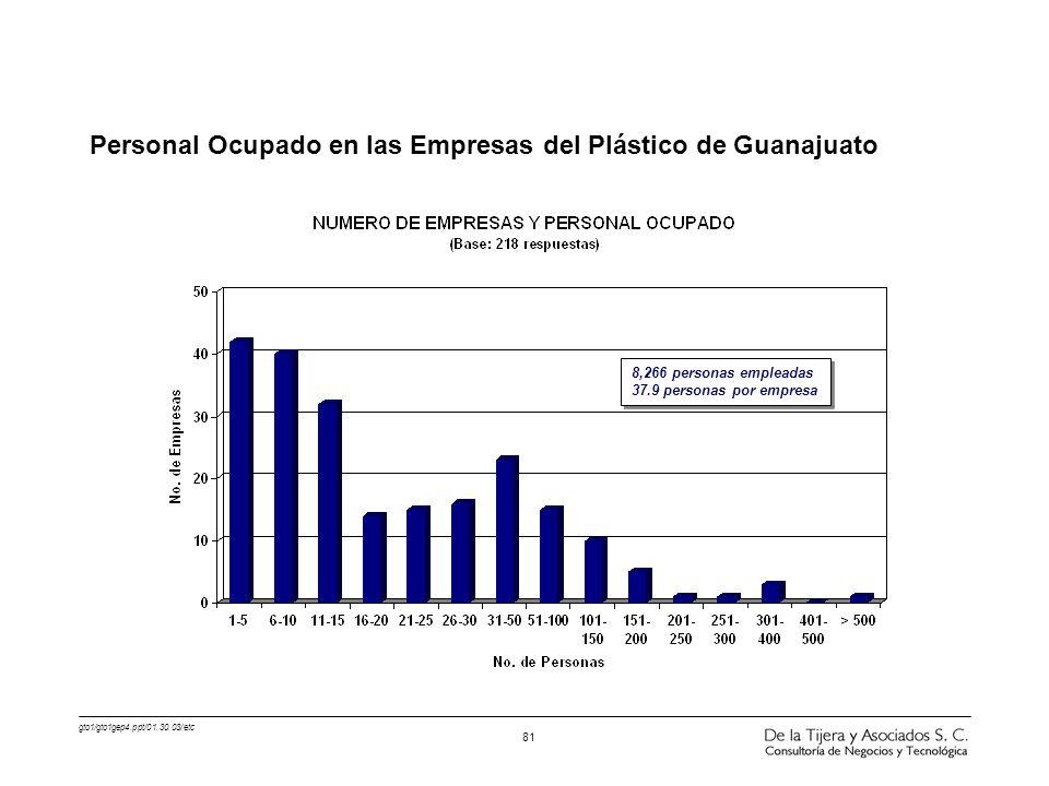 Personal Ocupado en las Empresas del Plástico de Guanajuato