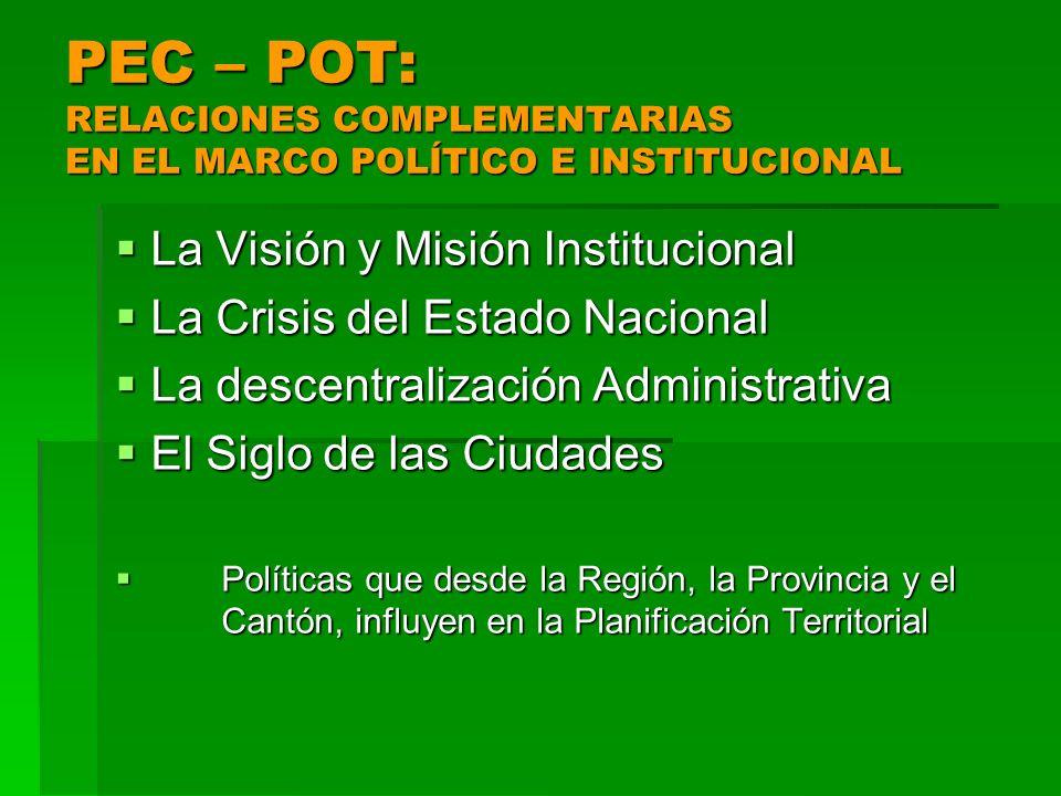 PEC – POT: RELACIONES COMPLEMENTARIAS EN EL MARCO POLÍTICO E INSTITUCIONAL