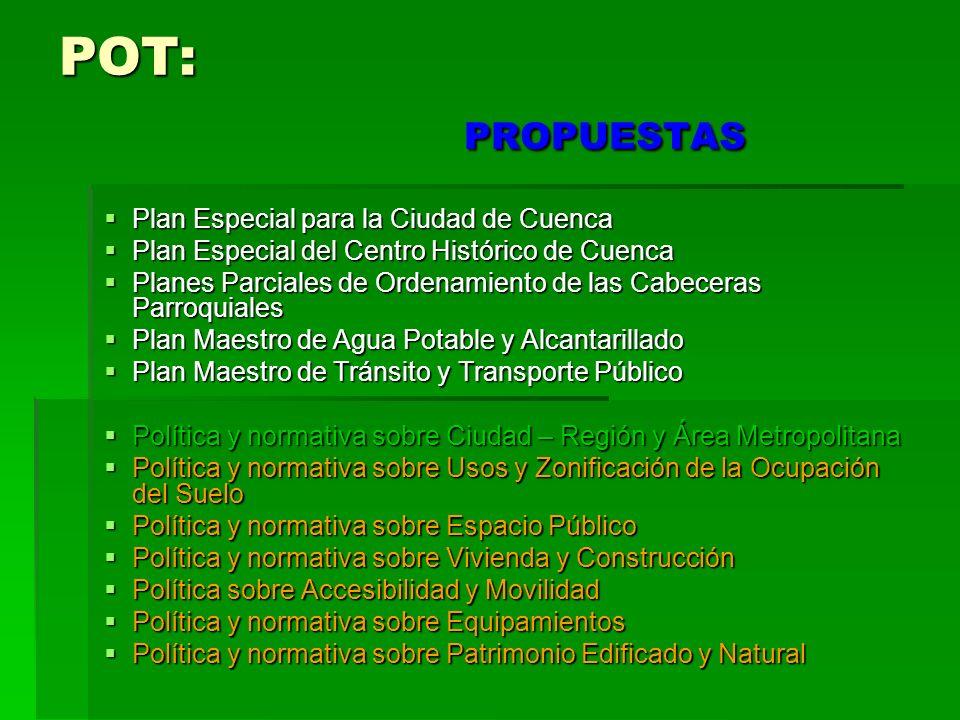 POT: PROPUESTAS Plan Especial para la Ciudad de Cuenca