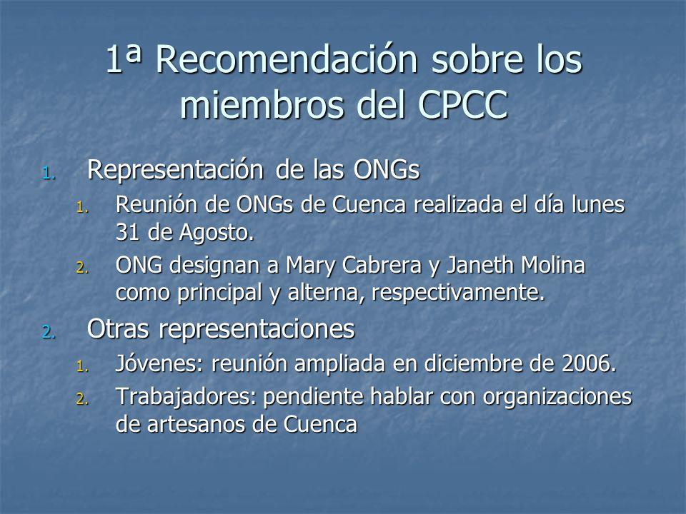 1ª Recomendación sobre los miembros del CPCC