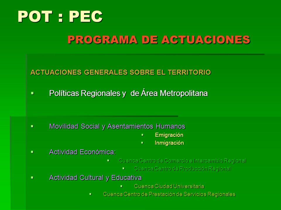POT : PEC PROGRAMA DE ACTUACIONES
