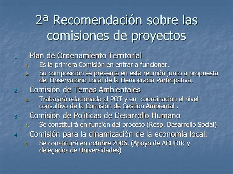 2ª Recomendación sobre las comisiones de proyectos
