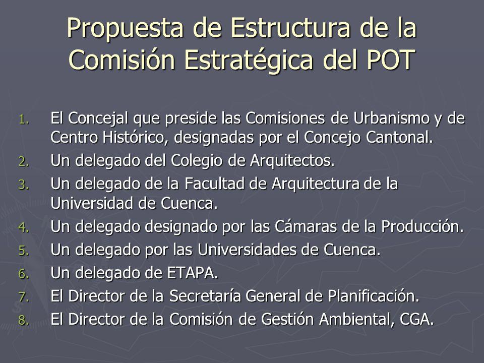 Propuesta de Estructura de la Comisión Estratégica del POT