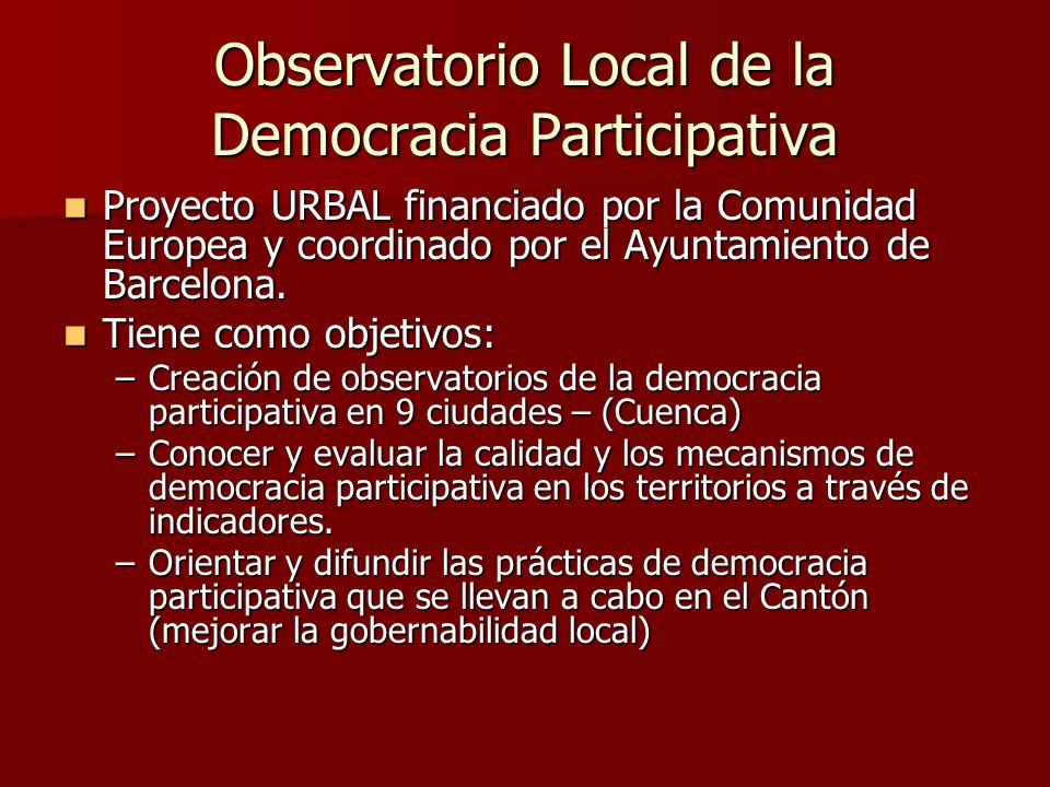 Observatorio Local de la Democracia Participativa