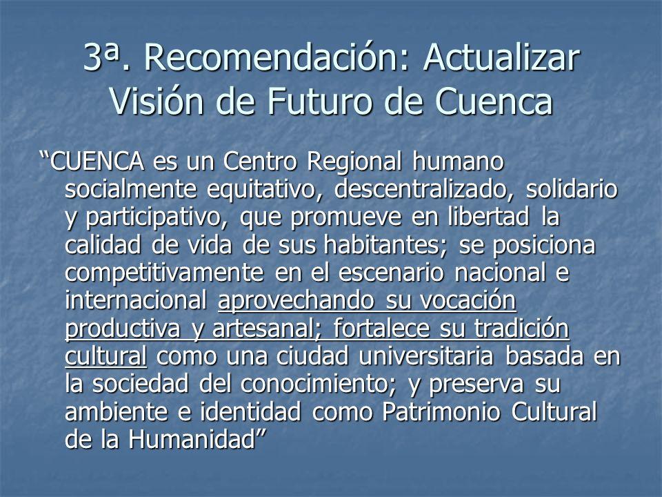 3ª. Recomendación: Actualizar Visión de Futuro de Cuenca