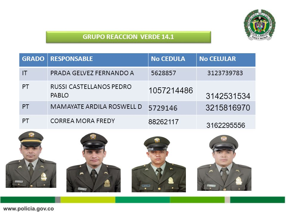 GRUPO REACCION VERDE 14.1 GRADO. RESPONSABLE. No CEDULA. No CELULAR. IT. PRADA GELVEZ FERNANDO A.