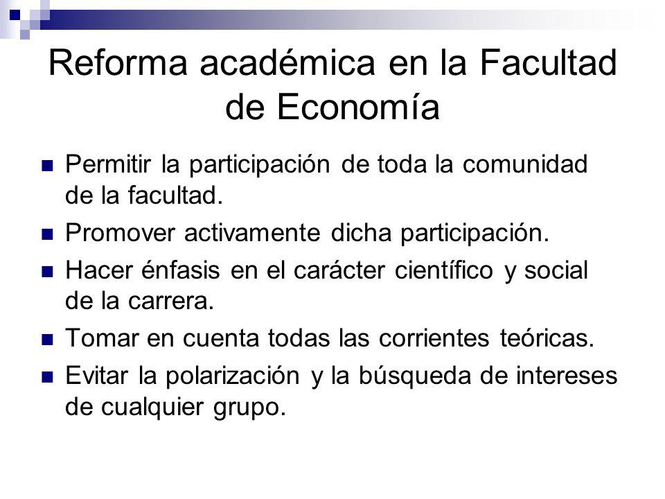 Reforma académica en la Facultad de Economía