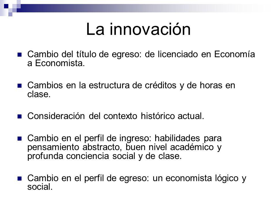 La innovación Cambio del título de egreso: de licenciado en Economía a Economista. Cambios en la estructura de créditos y de horas en clase.