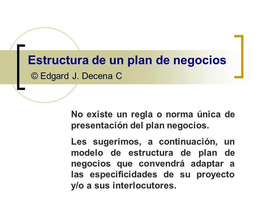 Estructura de un plan de negocios © Edgard J. Decena C