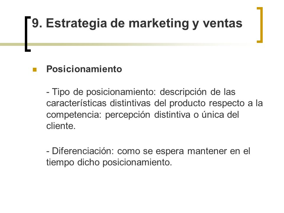 9. Estrategia de marketing y ventas