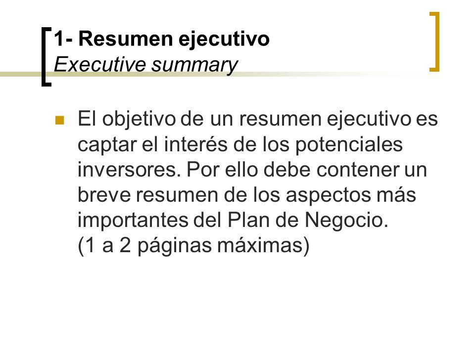 1- Resumen ejecutivo Executive summary