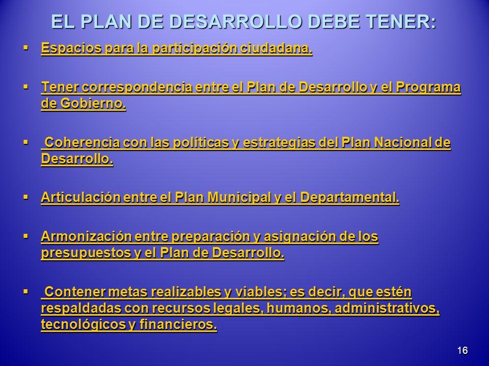 EL PLAN DE DESARROLLO DEBE TENER: