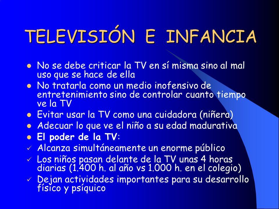 TELEVISIÓN E INFANCIA No se debe criticar la TV en sí misma sino al mal uso que se hace de ella.