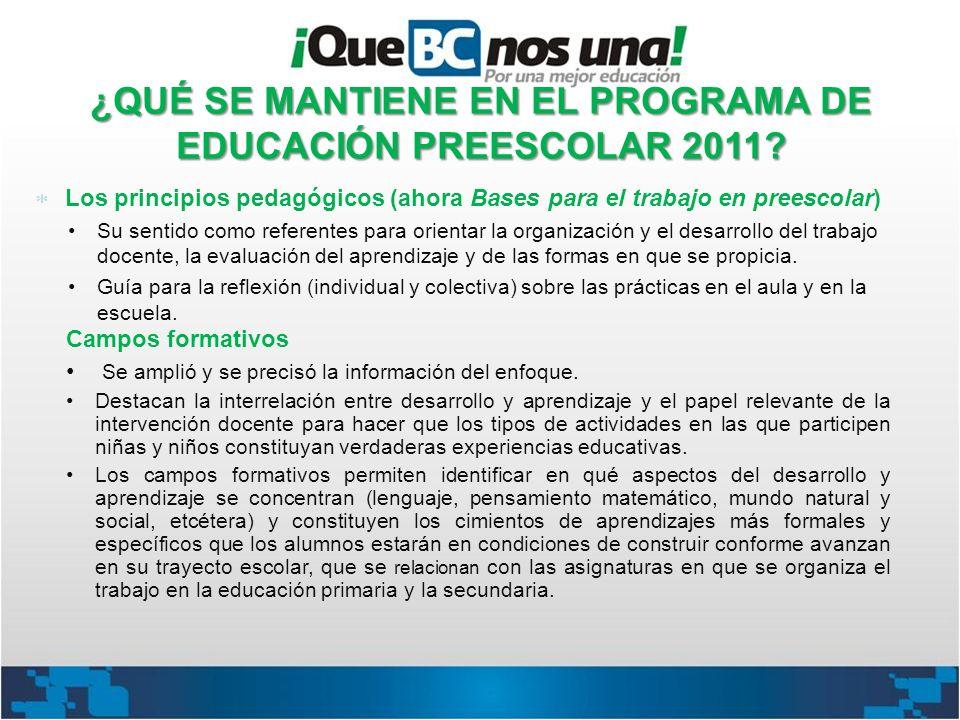 ¿QUÉ SE MANTIENE EN EL PROGRAMA DE EDUCACIÓN PREESCOLAR 2011