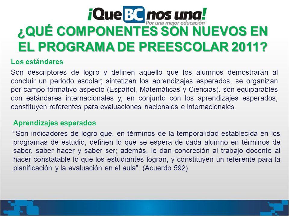 ¿QUÉ COMPONENTES SON NUEVOS EN EL PROGRAMA DE PREESCOLAR 2011