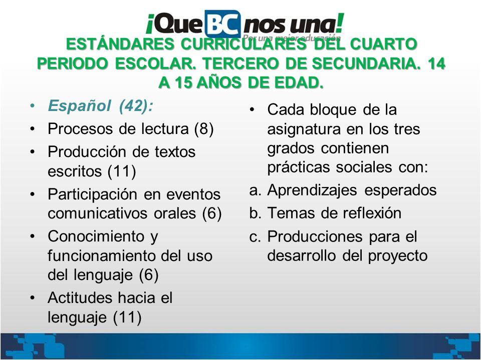 ESTÁNDARES CURRICULARES DEL CUARTO PERIODO ESCOLAR