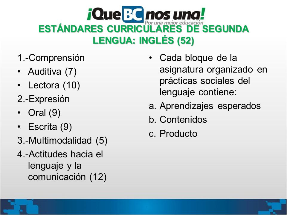 ESTÁNDARES CURRICULARES DE SEGUNDA LENGUA: INGLÉS (52)