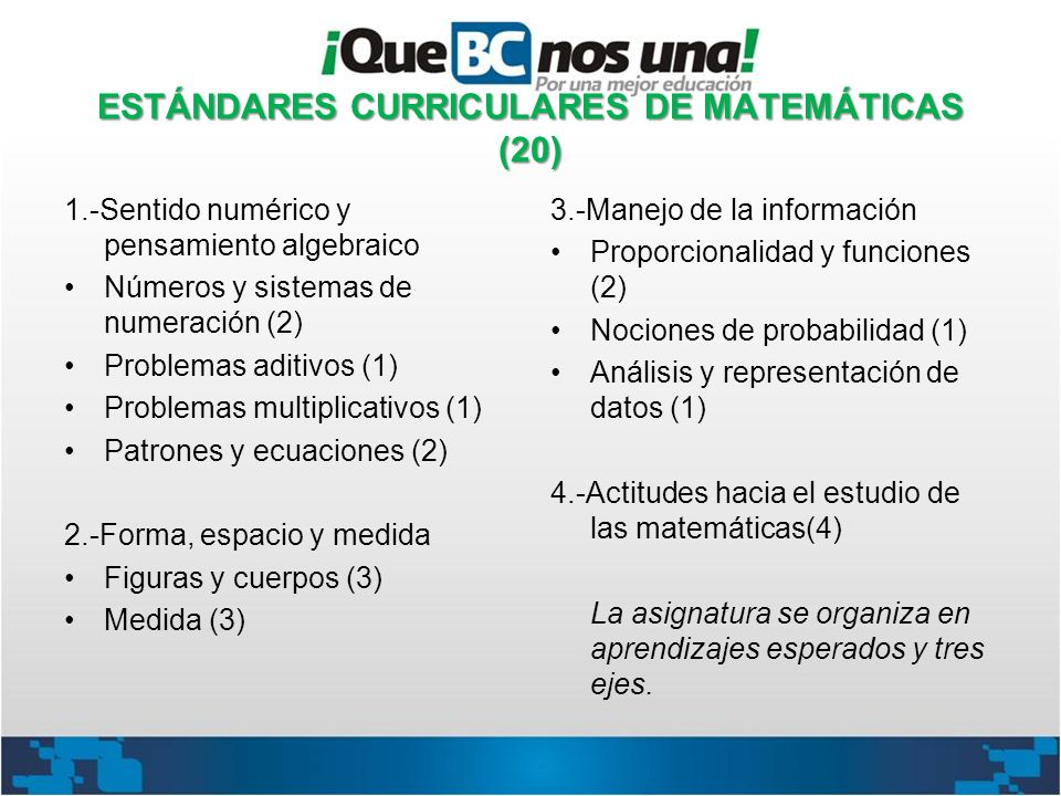 ESTÁNDARES CURRICULARES DE MATEMÁTICAS (20)