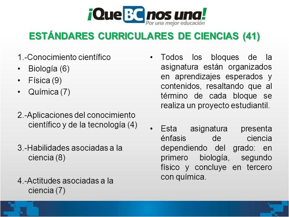 ESTÁNDARES CURRICULARES DE CIENCIAS (41)