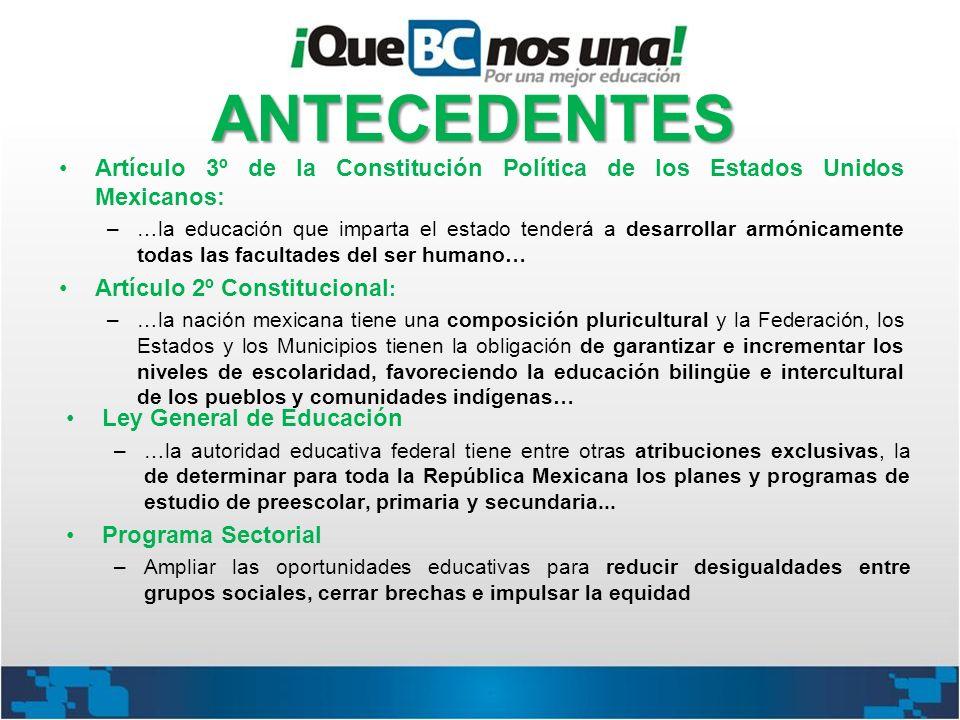 ANTECEDENTES Artículo 3º de la Constitución Política de los Estados Unidos Mexicanos: