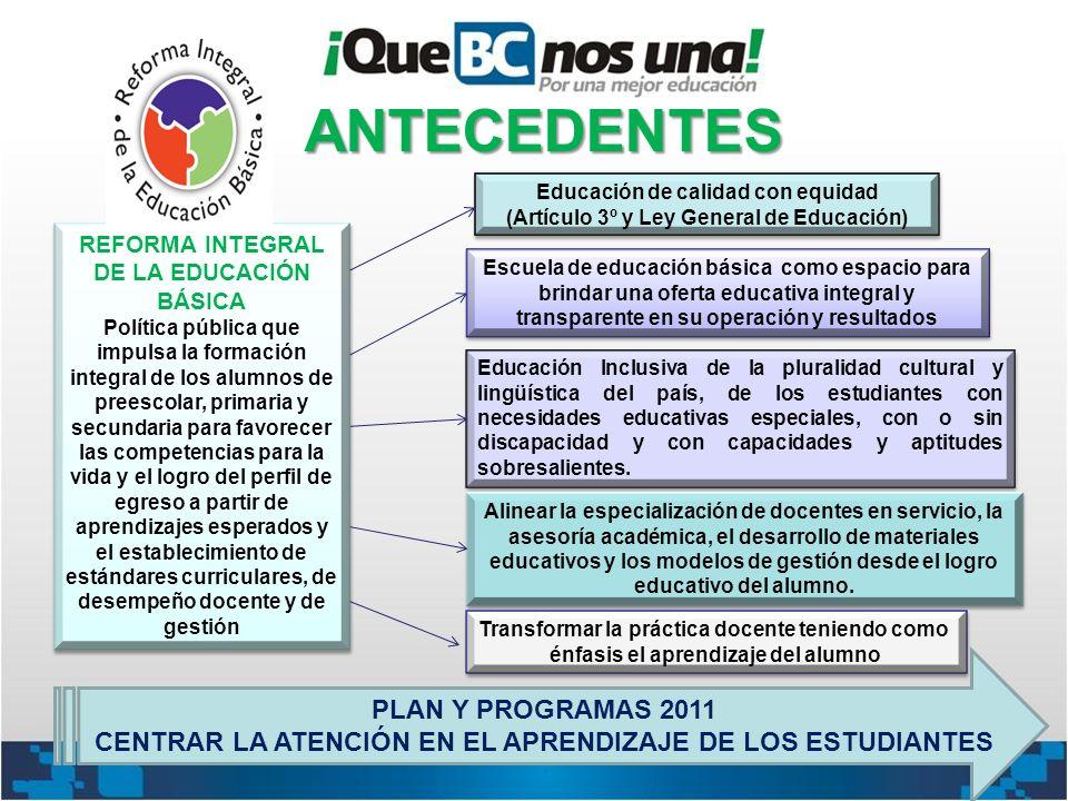 ANTECEDENTES PLAN Y PROGRAMAS 2011