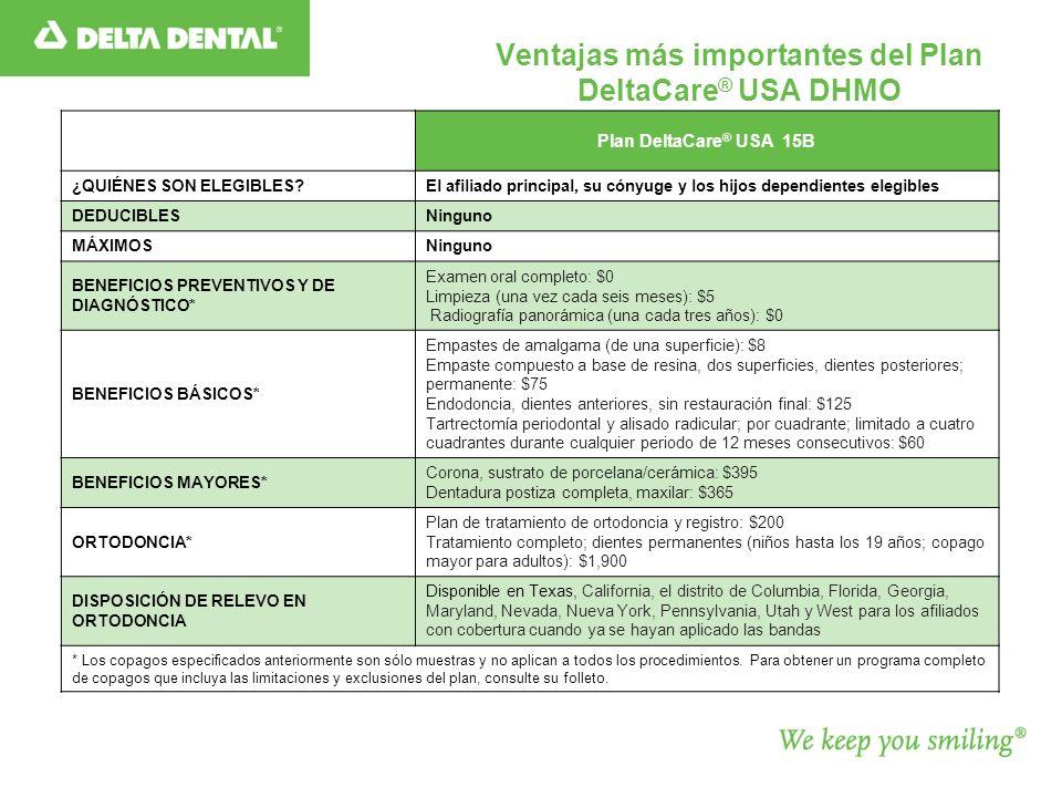 Ventajas más importantes del Plan DeltaCare® USA DHMO