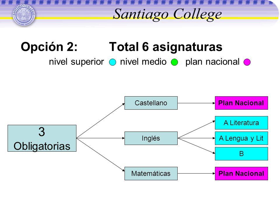 Opción 2: Total 6 asignaturas nivel superior nivel medio plan nacional