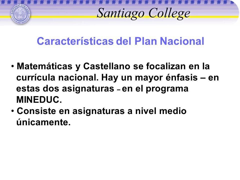 Características del Plan Nacional