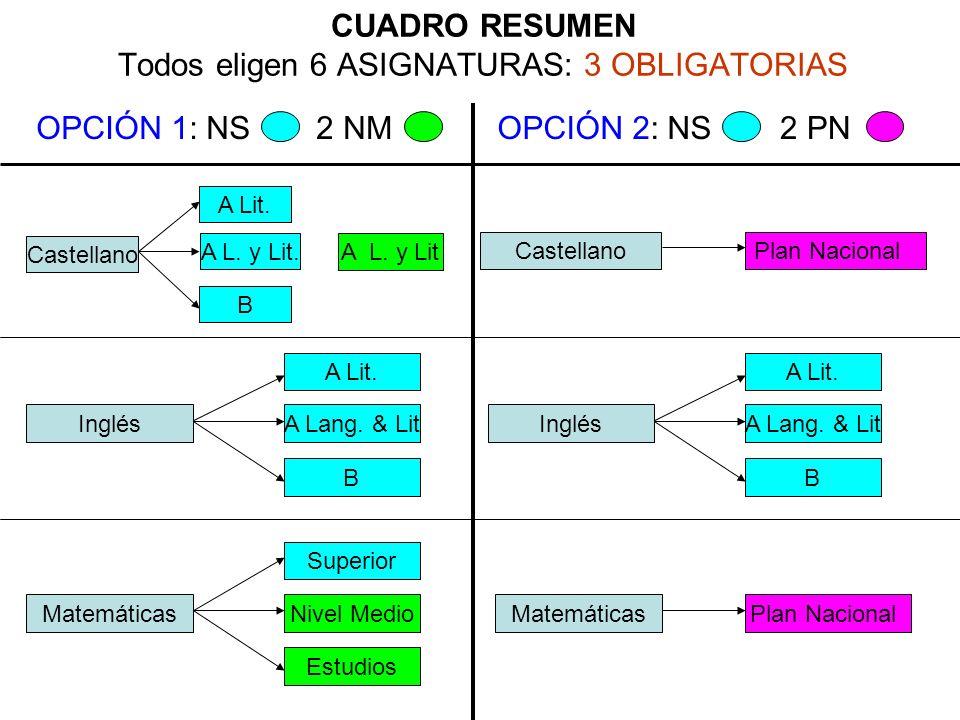 CUADRO RESUMEN Todos eligen 6 ASIGNATURAS: 3 OBLIGATORIAS