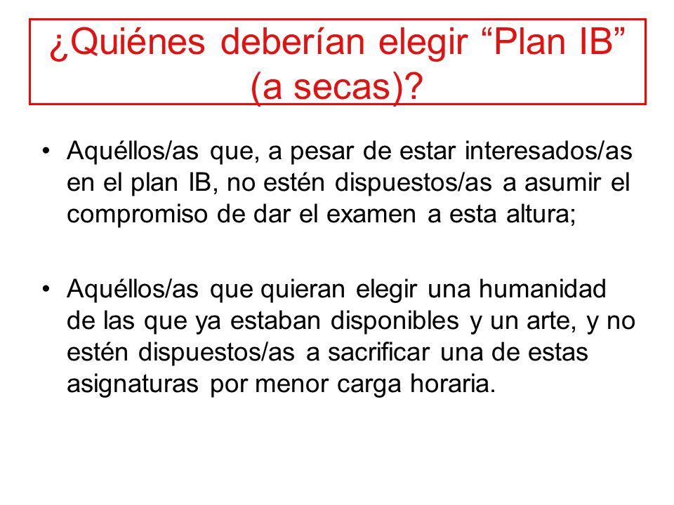 ¿Quiénes deberían elegir Plan IB (a secas)