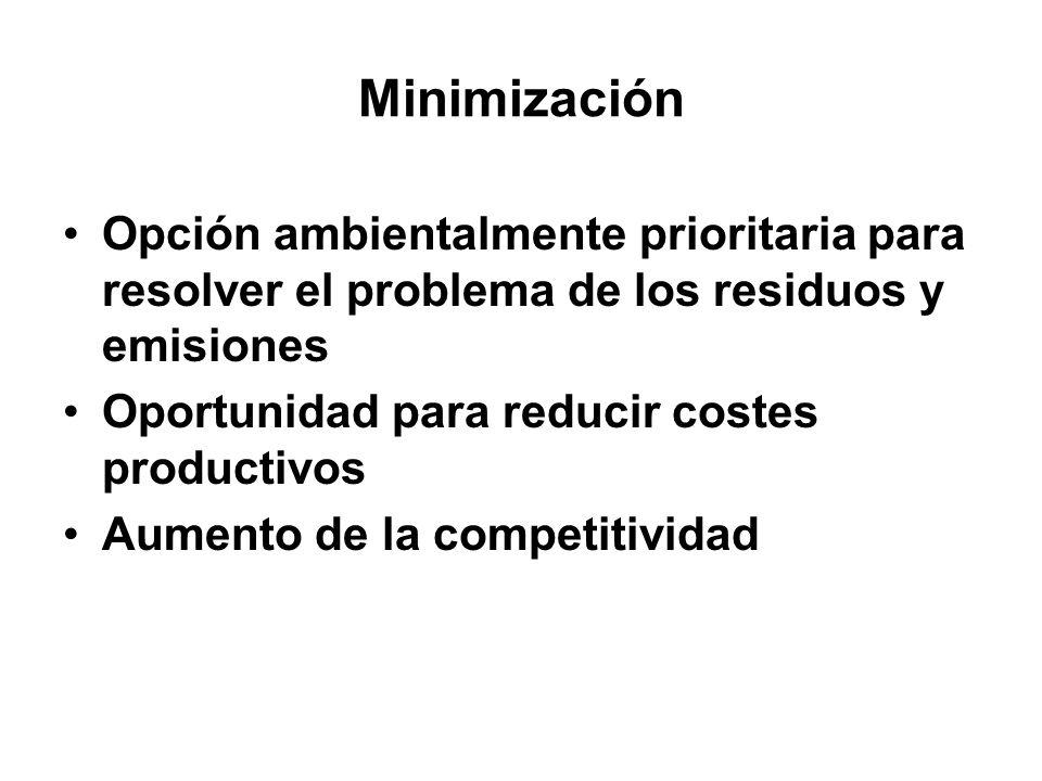 Minimización Opción ambientalmente prioritaria para resolver el problema de los residuos y emisiones.