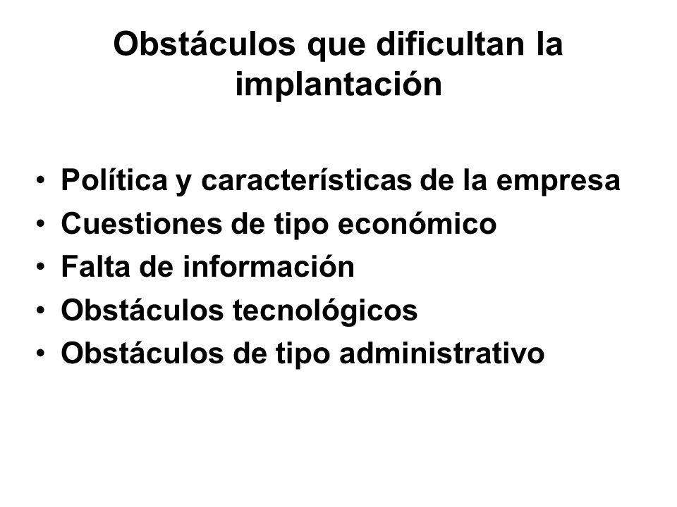 Obstáculos que dificultan la implantación
