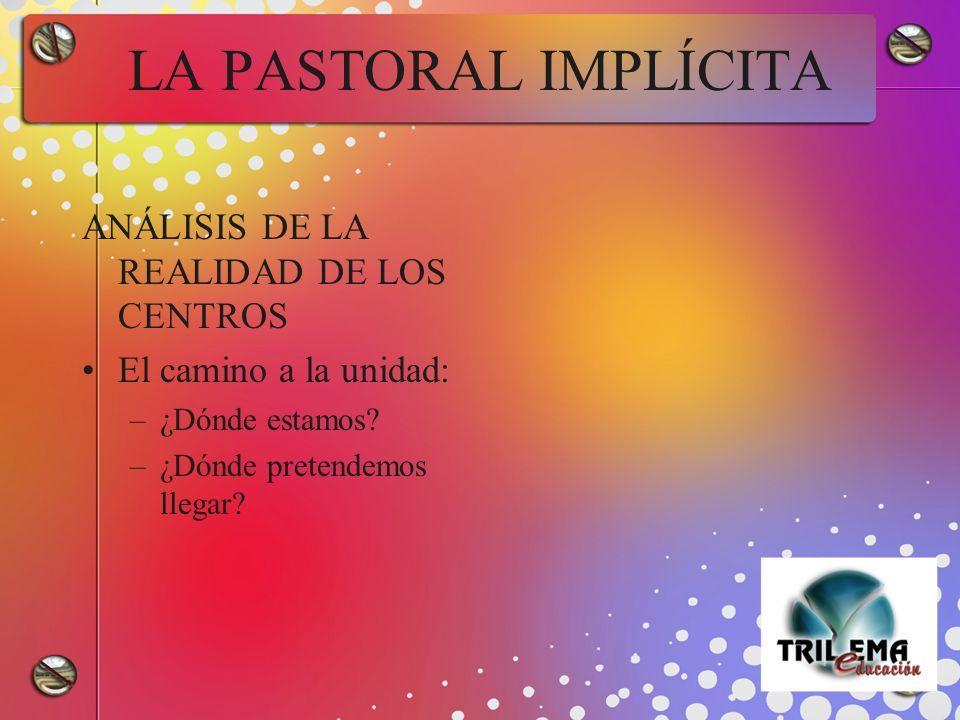 LA PASTORAL IMPLÍCITA ANÁLISIS DE LA REALIDAD DE LOS CENTROS