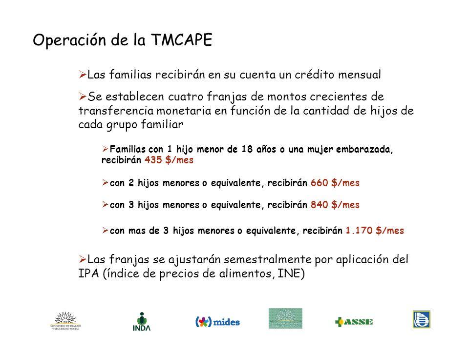 Operación de la TMCAPE Las familias recibirán en su cuenta un crédito mensual.