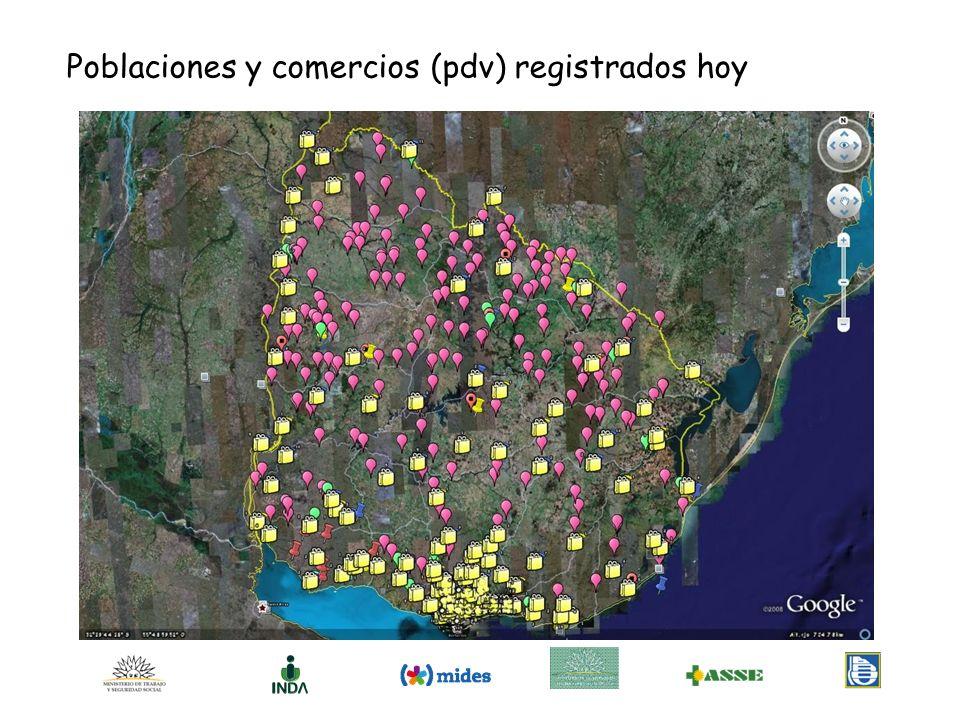 Poblaciones y comercios (pdv) registrados hoy