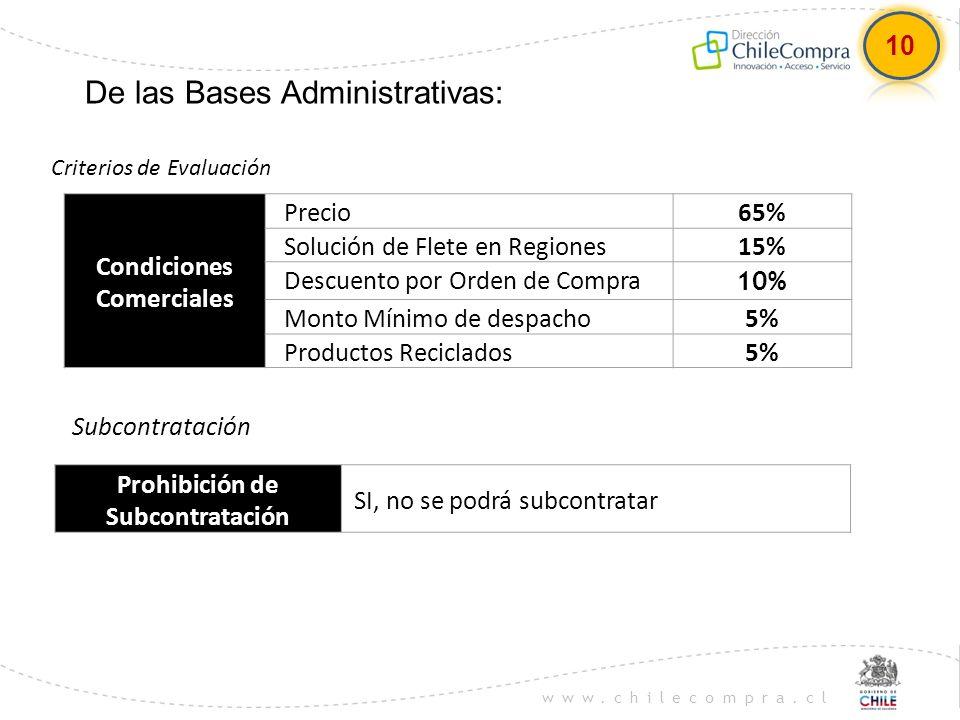 Condiciones Comerciales Prohibición de Subcontratación