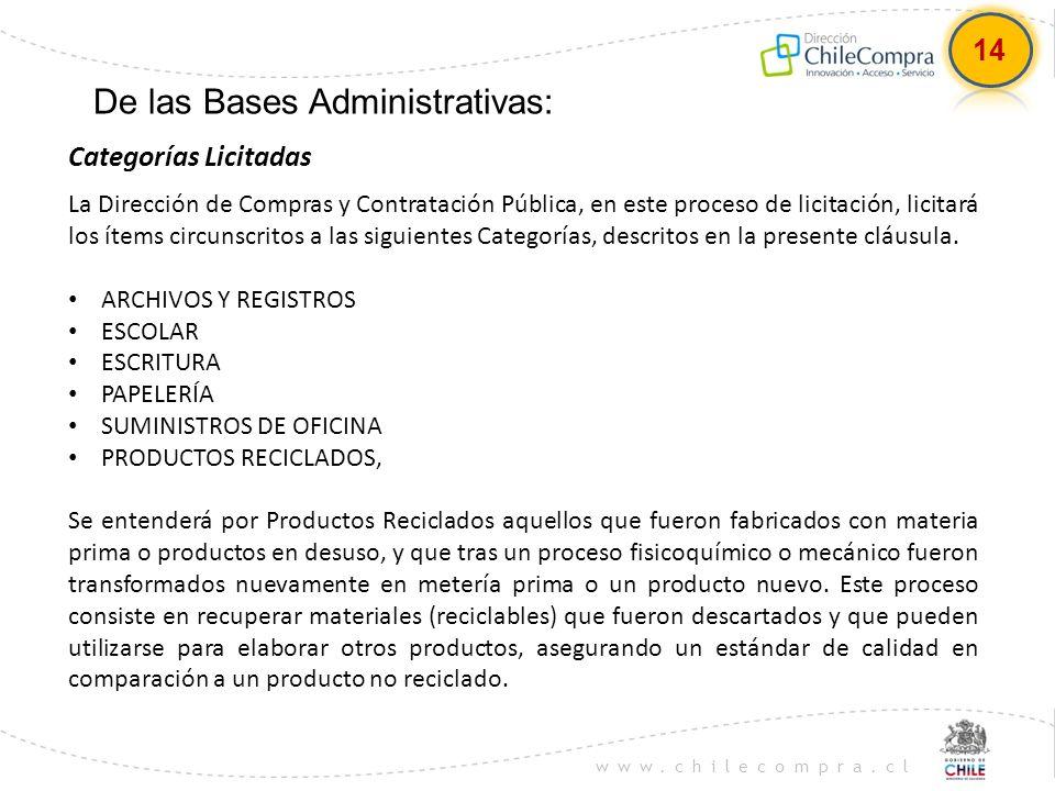 De las Bases Administrativas:
