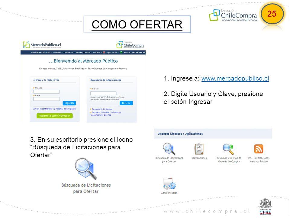 COMO OFERTAR 25 1. Ingrese a: www.mercadopublico.cl